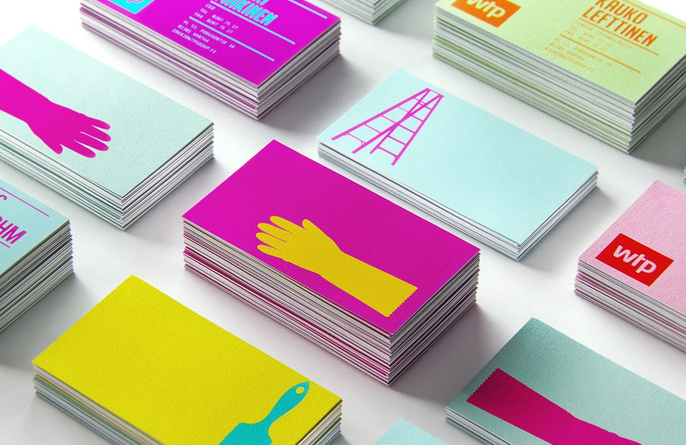 business card design tips - use bright colors to get attention