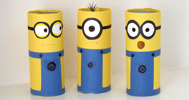 easy art and craft ideas for kids - minion craft from toilet rolls