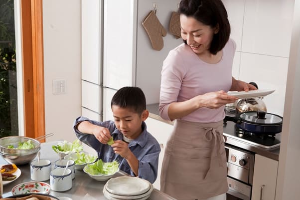 mother son cooking photography